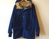 Sale! Anorak Hooded Drawstring Vintage Menswear Mens Medium Blue