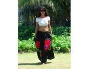 Maxi Skirt in Black and Red/ Summer Long Skirt/ Wrinkle Maxi Skirt/ Abstract Skirt/ Casual Skirt