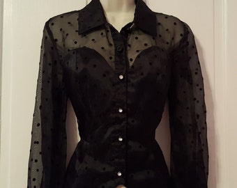 POLKA DOT SHEER Blouse // 80's Jessica Howard Black Formal Wedding Funeral Top 90's Melrose Place See Through Size 6 Rhinestone Fly Girl