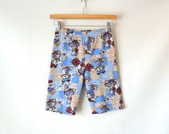 90s Disney Bike Shorts / Mickey Mouse Minnie Donald Duck Goofy / Patchwork Bandana Print / Stretchy Spandex Shorts / Jerry Leigh / Medium