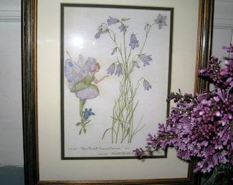 Garden Fairy Framed Botanical Print - Fairy and Campanula and Bluebell Garden Print - Bluebell and Campanula Garden Fairy Print