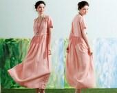 maxi linen dress in pink, long linen dress, pink dress, tunic dress, pleated dress, maxi kaftan, boho dress, bridesmaid dress, wedding dress