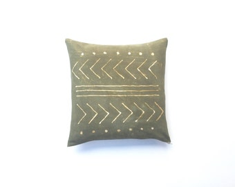 Olive Green Throw Pillow Cover 18 x 18 | Hand Dyed Tribal Pattern Green Mudcloth Decorative Pillow Cushion Cover Tribal Pillow Sofa Pillow