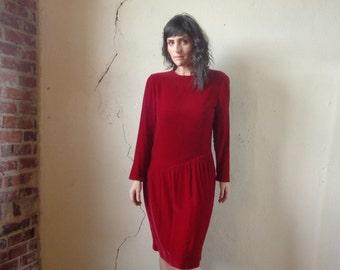90s red velvet drop waist midi dress/ liz claiborne// 4 petite