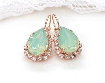 Mint Earrings Mint Opal Teardrop Mint Wedding Mint Bridesmaids Sea foam Green Mint Swarovski Crystal Rose Gold Mint Bridal Drop Earrings