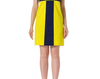 1960s Mod Blue and Yellow Colorblock Short Sleeve Shift Dress SIZE: S, 4
