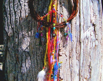 Estrella Circus Girl Psychedelic 60s Hippie inspired Rustic Funky Festival Peace Signs Wreath