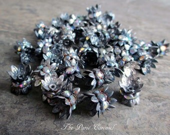 8 mm rhinestone bead caps crown auroroa borealis ab spacer oxidized silver patina vintage style assemblage jewelry, lot of 10 pcs