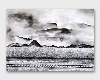 Pen and ink landscape art Horizontal Pen and ink drawing Pen and ink art 12x16 Travel gift original landscape Outdoors Original Mountain art