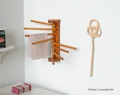 1:12th scale dollhouse miniature - Wood clothes drying rack - wall mounted (HH30)