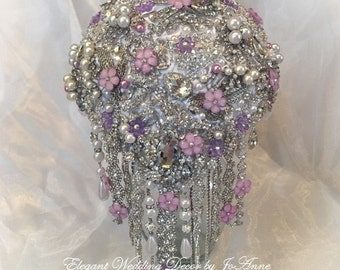 CRYSTAL WEDDING BOUQUET Custom Brooch Bouquet Broach Bouquet Silver Brooch Bouquet Teardrop Bouquet Pink and White Bouquet, Deposit Only