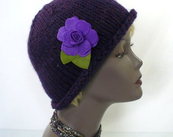 Hand Knit Purple Hat: Twenties Style Cloche, Woman's Rolled Brim Hat, Purple Bucket Hat, Chemo Cap, Handmade in the USA, Ready to Ship