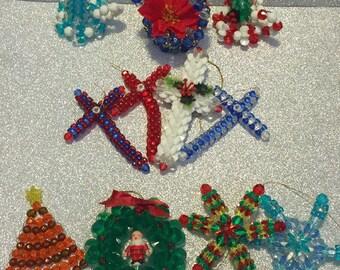 11 Vintage Beaded Christmas Tree Ornaments ~ Wreath, Crosses, Candles +