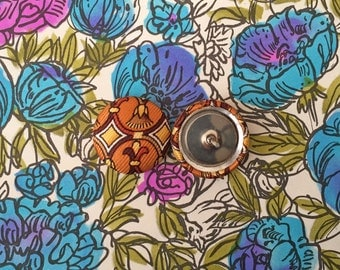Stud Earrings / Brown Art Deco / Fabric Covered Button Earrings / Wholesale Jewelry / Gifts for Her / Made in USA / Bulk Lot