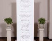 Handwritten style wedding ceremony backdrop for your altar with vows, love poems and love songs