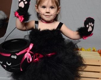 The ALORA Cat Costume, Toddler Halloween Costume, Black Toddler Tutu, Black Cat, Black Pink Cat, Cat Tutu