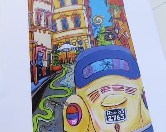 Happy Art Print. Pop Art Print. VW Bug in Rome - 11x14 Inch Signed Print #ColorYourWorld