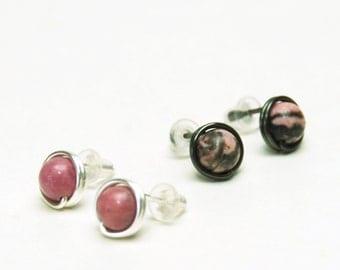 Pink Rhodonite Stud Earrings - Handmade Wire Wrapped Pink Gemstone Earrings in Fine (99%) Silver or Black Arte Metal Wire