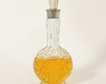 Lucien Lelong Impromptu 1930s 1940s Cologne Perfume in Art Deco Carved SUNBURST Flacon Bottle with Bakelite Stopper