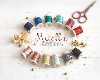 Braided Ribbon 1/8 Inch - 3, 6 or 109 yards - Wedding Ribbon - Metallic Silver Ribbon - DIY Weddings - Metallic Ribbon - Braided Ribbons