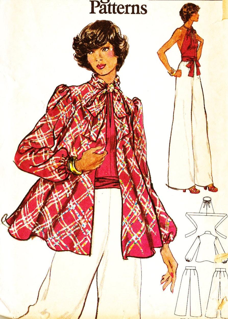 Vogue 8717 Retro 1970s Disco Era Halter Top Jacket and Wide
