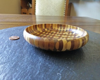 "Small 4.5"" Japanese segmented wood turning checkered inlay trinket round dish bowl vintage wooden catchall Halloween wedding birthday gift"