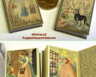 1008# Grimms Fairy tales - 2 books - Rotkäppchen and Hänsel und Gretel - Doll house miniature in scale 1/12