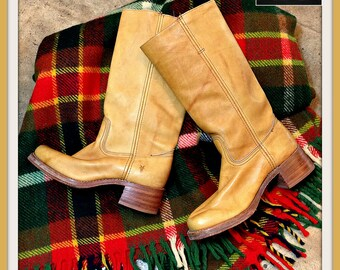 Vintage Camel Brown Leather Frye Boots with Chunky Heel
