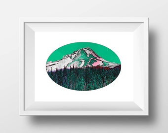 Art Prints, Mount Hood, Oregon Prints, Digital Art, Wall Art, Oregon Art, Pacific Northwest, PNW Art, Nature Print, Mountain Art