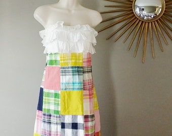 Vintage Lilly Pulitzer Madras Plaid Strapless Dress - The Cameron Style Dress Size Small