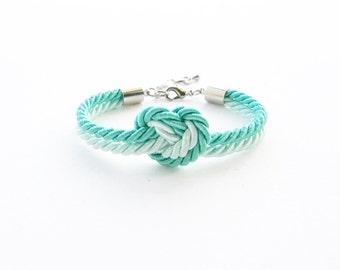 Heart knot bracelet - bridesmaid gift - bridesmaid bracelet - heart bracelet - rope knot bracelet - will you be my bridesmaid - mint wedding