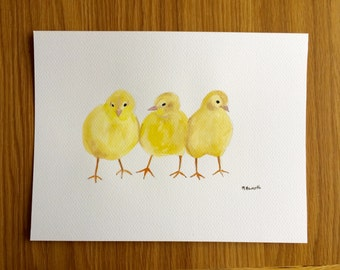 Baby chicks painting, chicken art, baby animals, baby chicks art farm animals birds original watercolour 12 x 9 inches