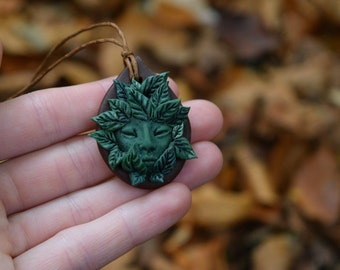 Nature Spirit, Clay, Pendant, Fae, Elf, Greenman, Plant Spirit Pendant, Spiritual, Woods, Forest, Pan, Pagan, Druid