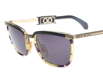 Galileo vintage wayfarer - clubmaster ibrid sunglasses with havana rims and golden metal browline with black details, NOS 1980s