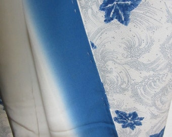 Japanese Kimono Blue and White Flowers an Waves Pattern