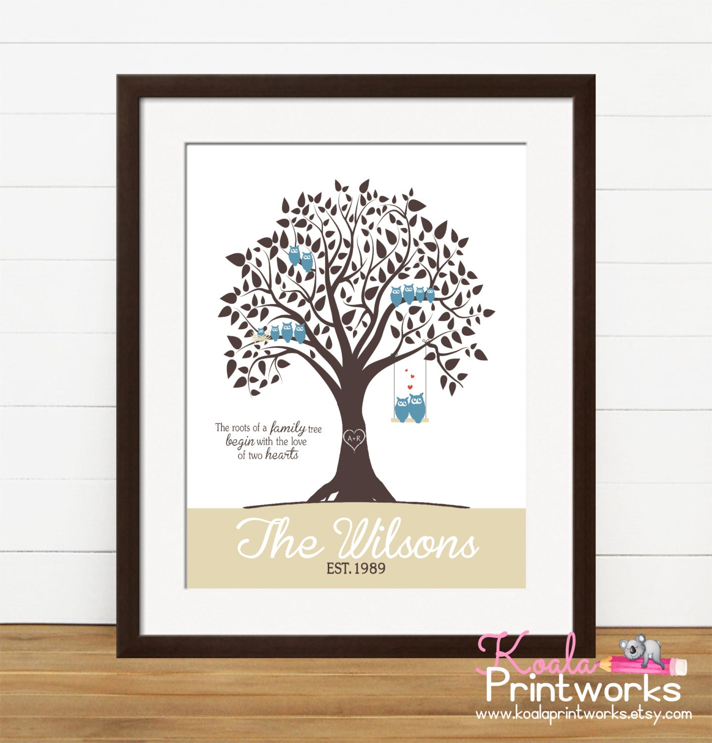 Etsy Family Wall Decor : Personalized family tree gift for mom art print