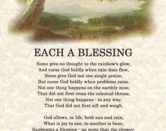 EACH A BLESSING...an inspirational Poetry Art Print that offers encouragement  A Great Anytime or Any Occasion Gift!