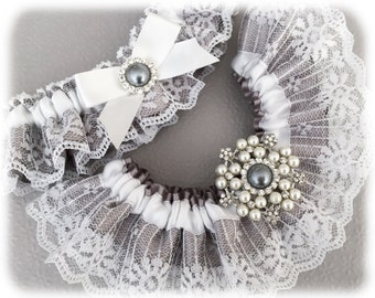 Wedding Garter, Gray Lace Wedding Garter Set, Gray Bridal Garter Set, Lace Garter Set, White Lace Wedding Garter Set, Crystal Garter Set
