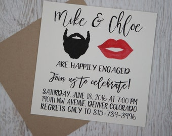 Beard and Lips, Engagement invitation, Wedding Announcement, calligraphy, mustache and kiss