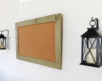 Framed Corkboard / Cork Board made from Reclaimed Wood Shown in Sage Extra Large 30 x 40 *MORE COLORS AVAILABLE*
