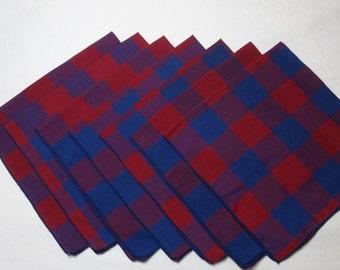 7 Vintage 1980s Red & Blue Plaid Dinner Napkins, 18 x 17.5 Inch, Easy Care Poly Cotton Blend, 1.5 Inch Plaid, Bound Edges, Vintage Linens