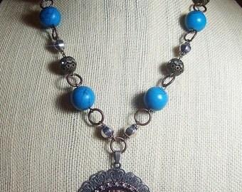Boho Buffalo Nickel Necklace with Mixed Metals and Natural