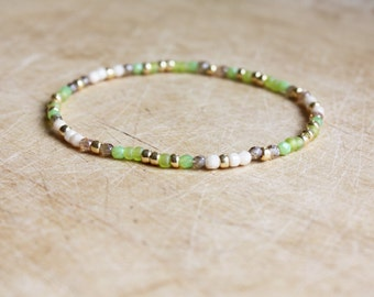 Green, Beige & Gold Bracelet