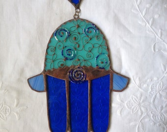 HANDMADE HAMSA HAND  turquoise and Blue Colors with Beads Filigree of Flowers and Circles.Wall Hanging,Original Stained Glass Art Decor,gift