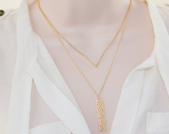 Gold V Necklace, Gold Jewelry,  Layering Necklace, Simple Jewelry