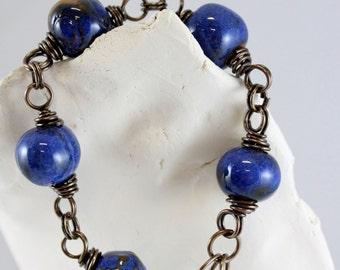 Handmade Indigo Blue Bead and Copper Bracelet