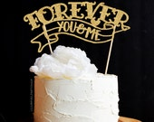 Tattoo Wedding Cake Topper / Forever Cake Topper / Engagement Cake Topper / Gold Glitter Cake Topper / Tattoo Cake Topper Ink