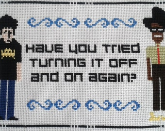 Finished IT Crowd Cross Stitch