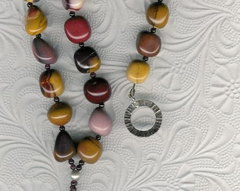 Oprah's Favorite Thing - Carved Succor Creek Jasper Puppy Pendant, Mookaite, Garnet, Sterling Silver Necklace