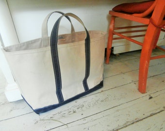 Vintage, Authentic. LL Bean. LARGE, Canvas, Natural White/NavyBlue Boat and Tote Bag